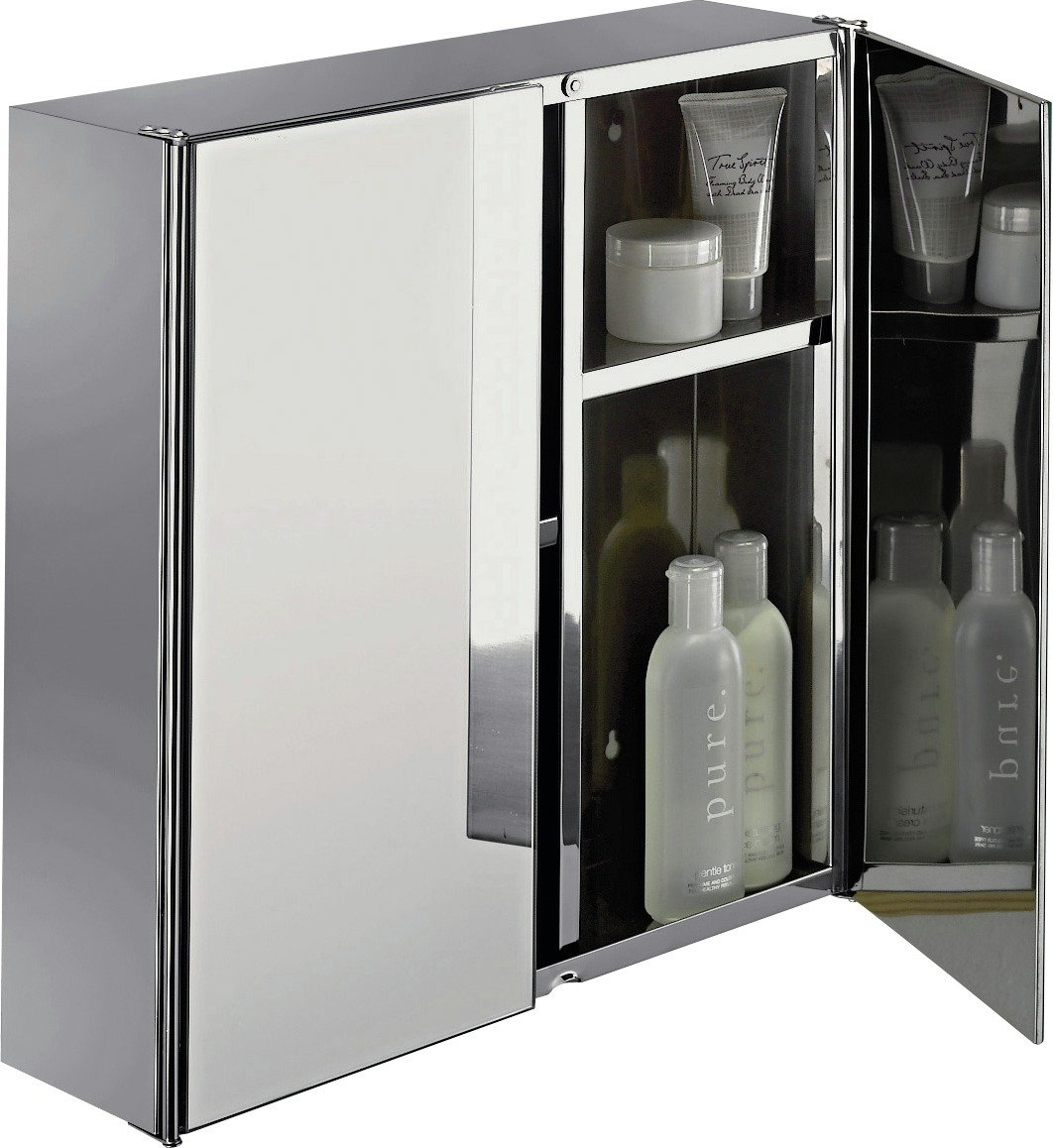 Stainless Steel Mirrored Bathroom Cabinets Stainless Steel Mirrored 2 Door Wall Mounted Bathroom
