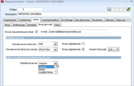 Configuración de la Factura-e en a3ERP
