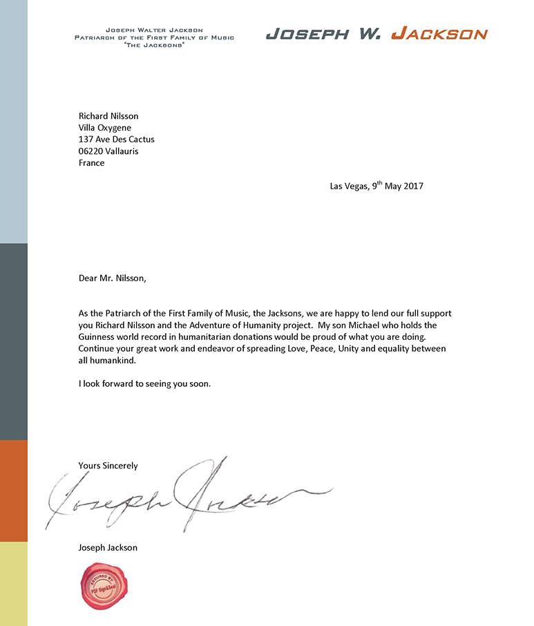Endorsements \u2013 Adventure Of Humanity - endorsement letter