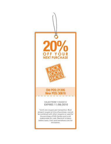Rack Room Shoes 20 off Printable Coupon Expires Monday AL