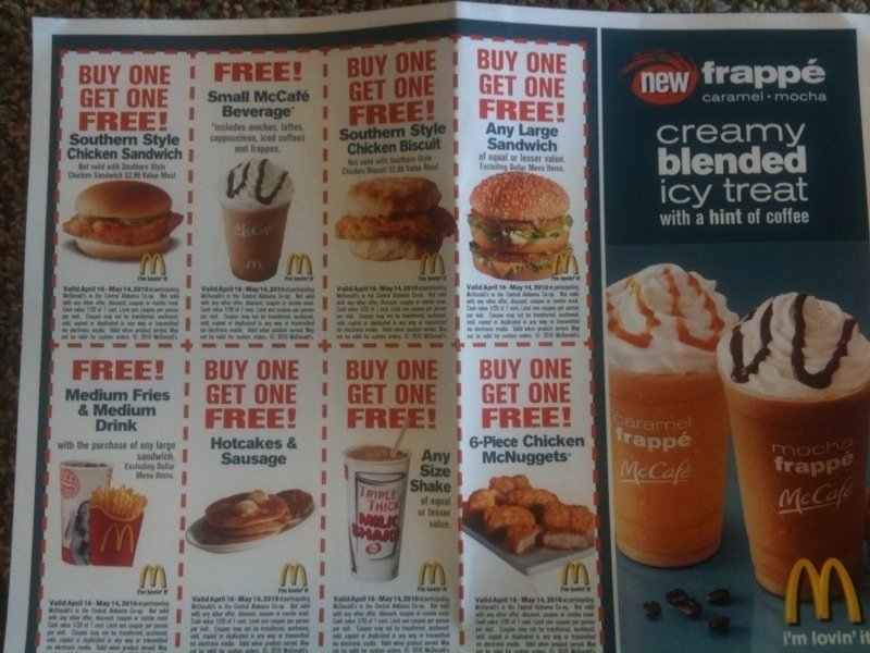 McDonald\u0027s Coupon Flyer Free With Purchase at Select Locations AL