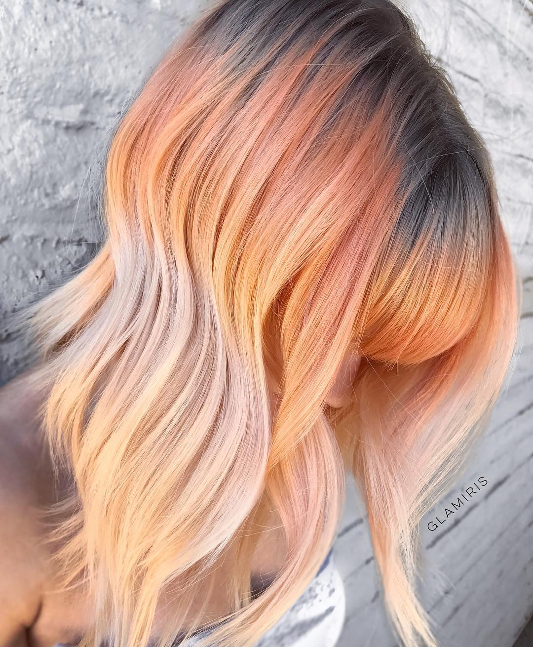 Coloured Hair Roots Smoked Peach Hair Is About To Take Over Instagram Allure