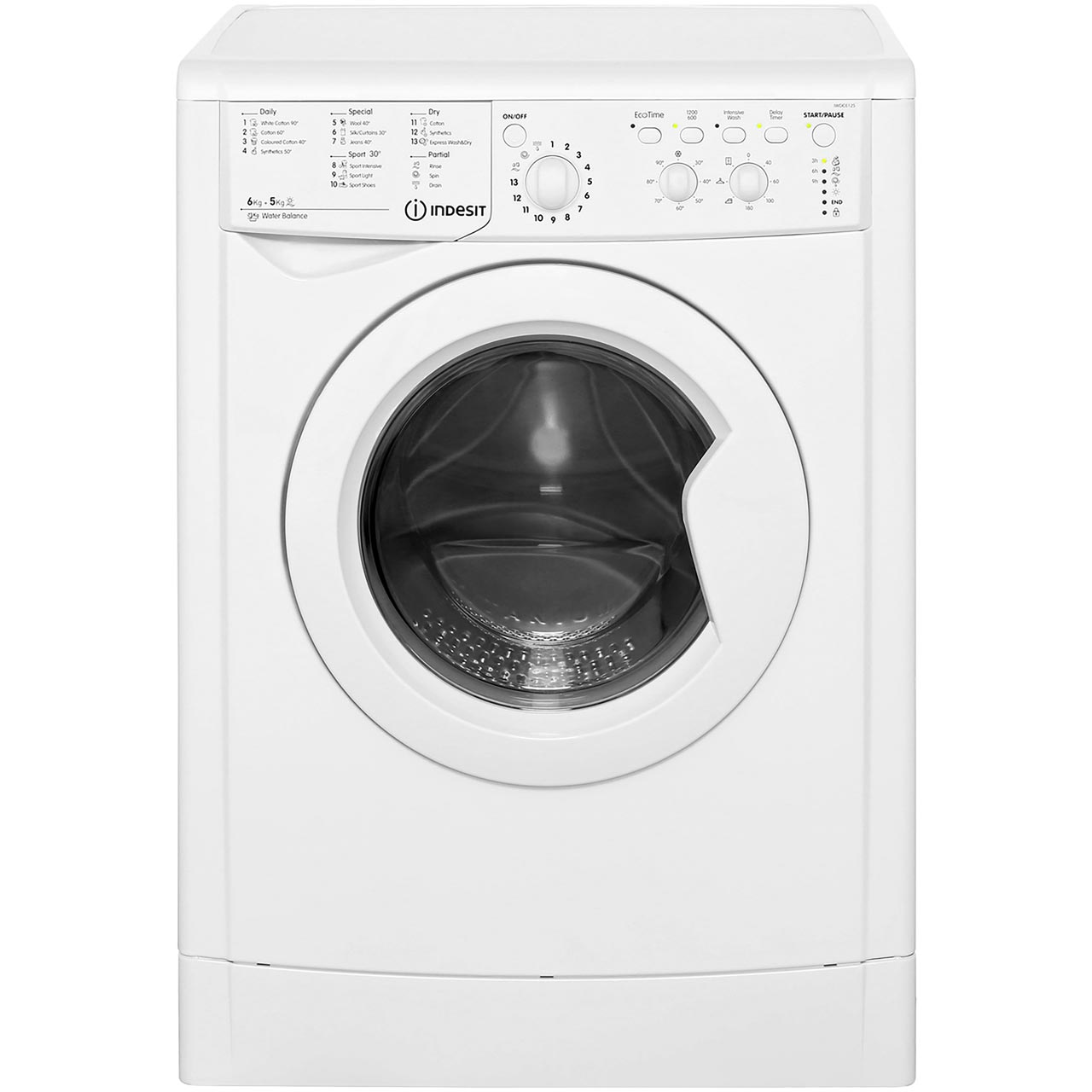 Indesit Iwdc 6125 Indesit Iwdc6125 Eco Time Free Standing 6kg Washer Dryer