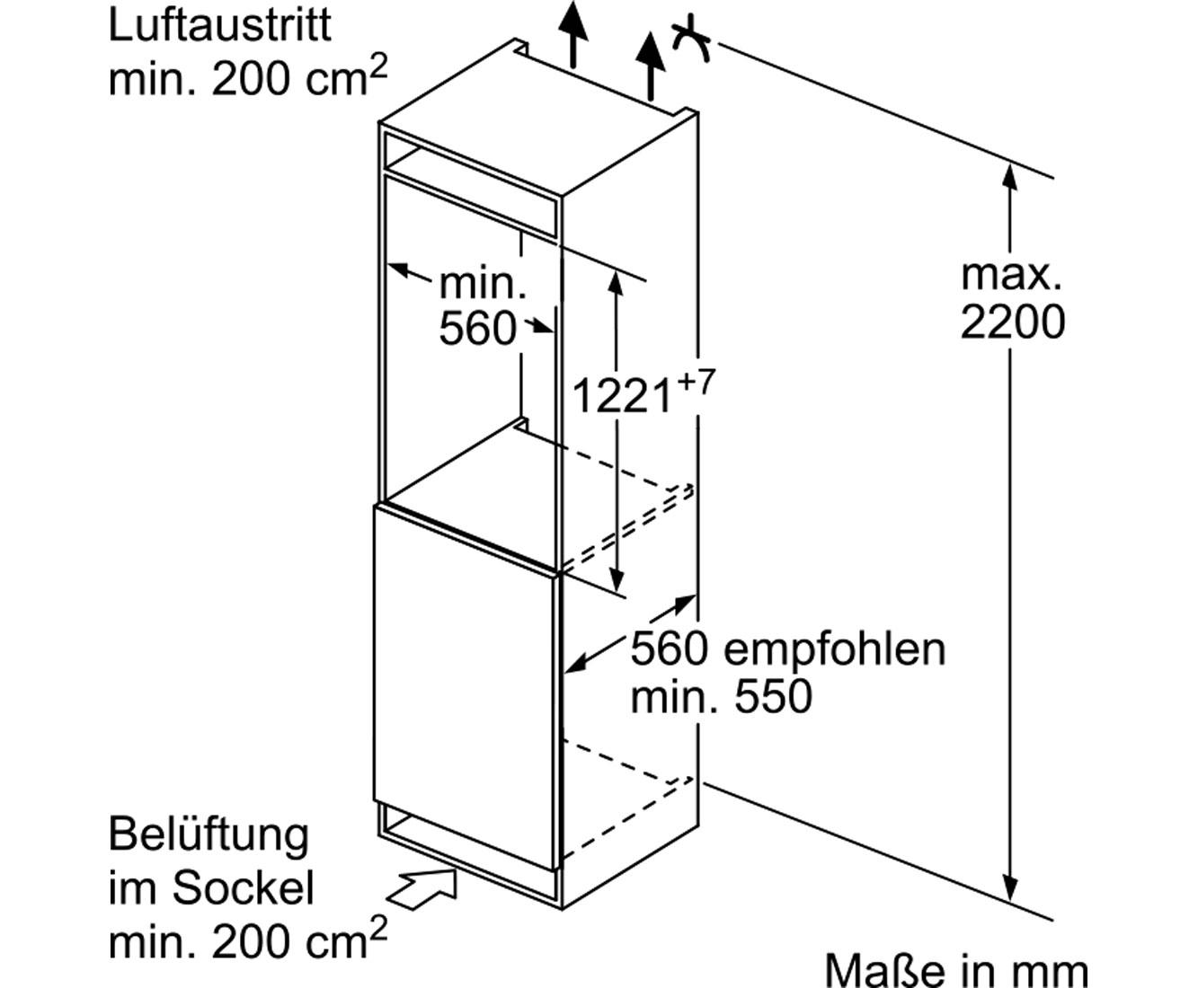 Kuhlschrank Masse Bosch Serie 4 Kfl42vf30 A Einbau Kuhlschrank 53