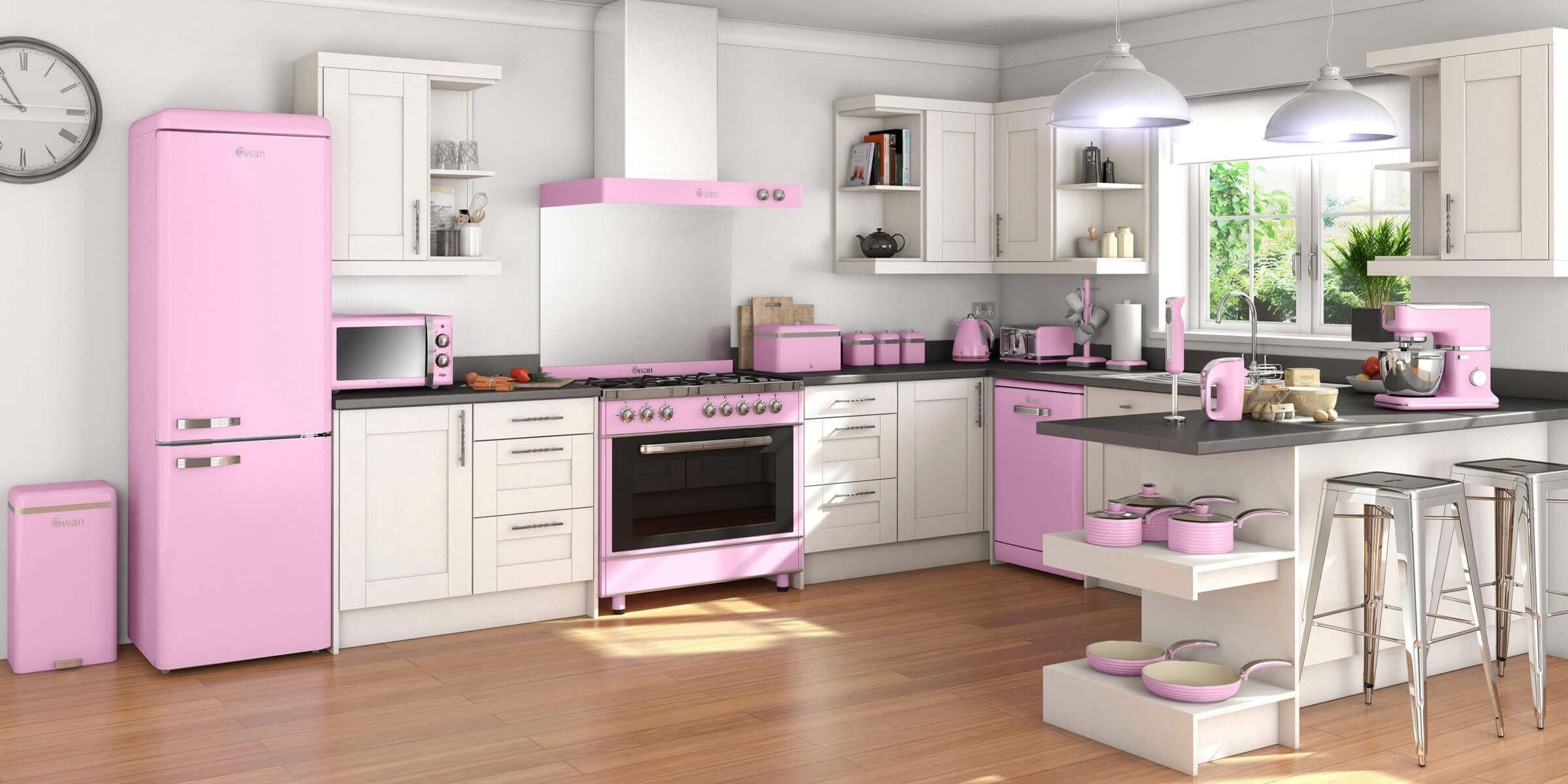 Pastel Pink Kitchen Accessories Swan Fearne Mixers And Blenders Retro Appliances Ao