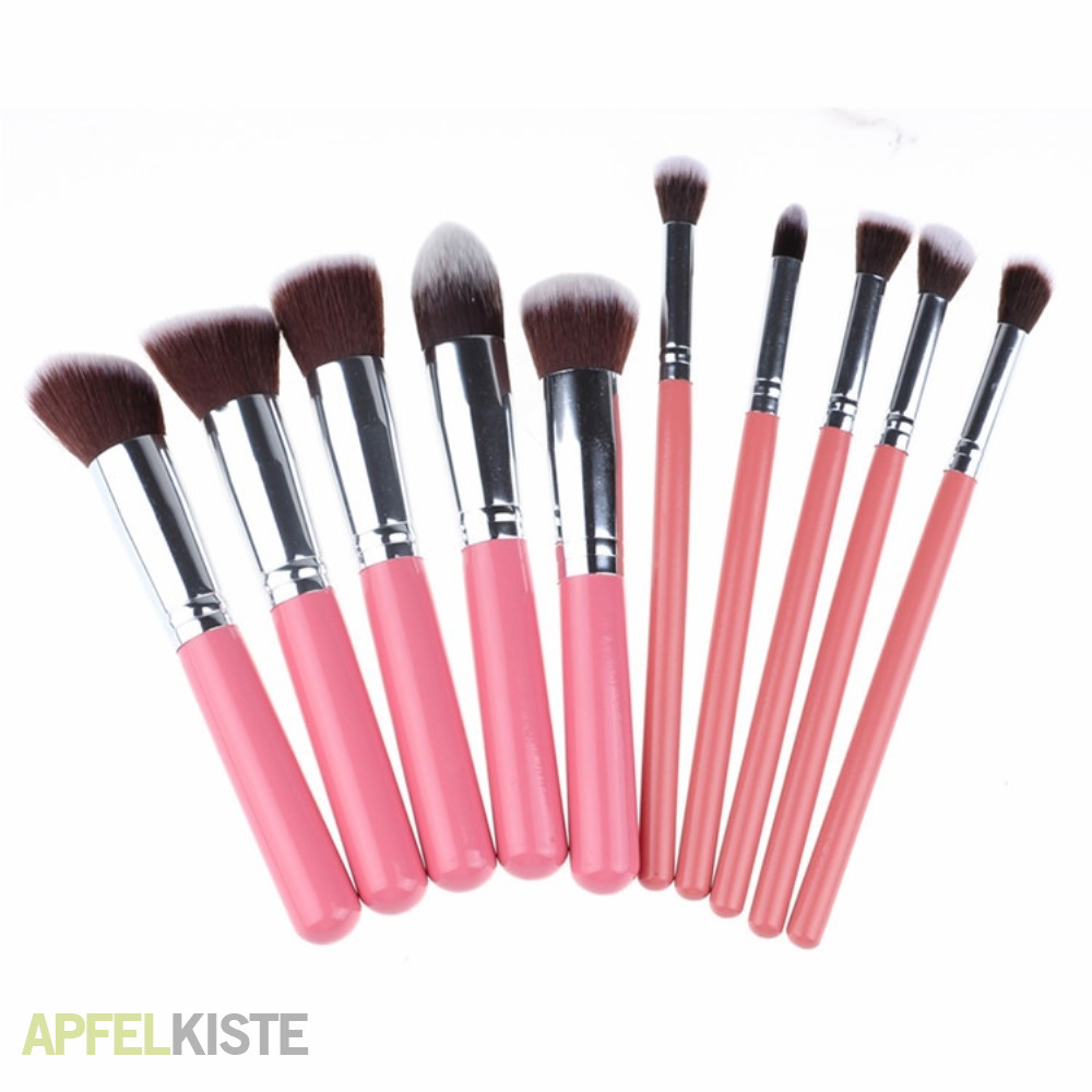 Pinsel Set 10 Teiliges Beauty Make Up Puder Pinsel Set Rosa Silber