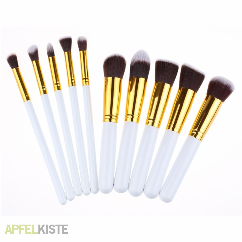 Pinsel Set 10 Teiliges Beauty Make Up Puder Pinsel Set Weiss Gold