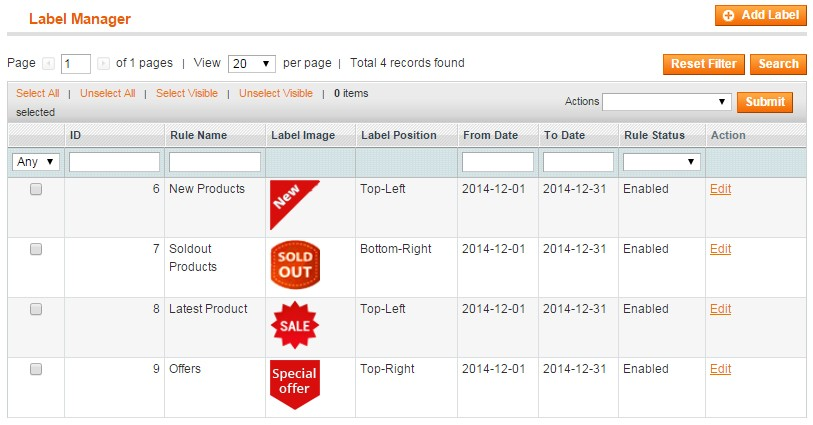 Magento Product Labels Extension - Create New Stickers  Labels by - label
