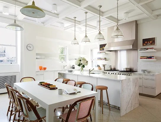 Waterfall Island In Kitchen White Marble Countertop Ideas & Inspiration