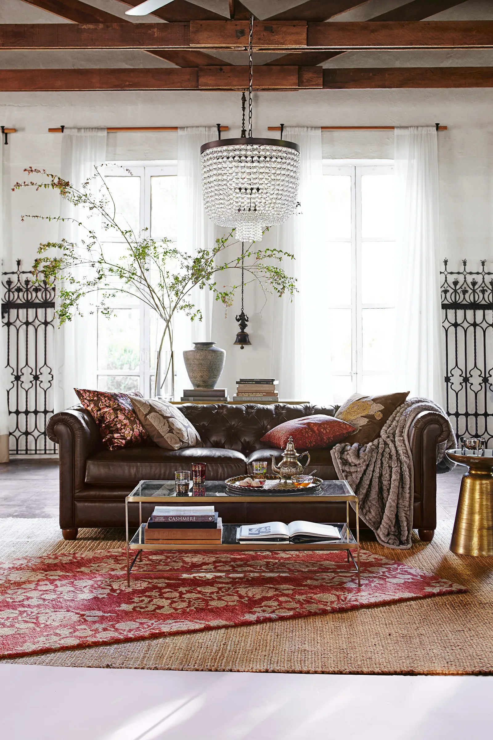 Farmhouse Living Room Add Jewel Tones To Your Home With Pottery Barn's
