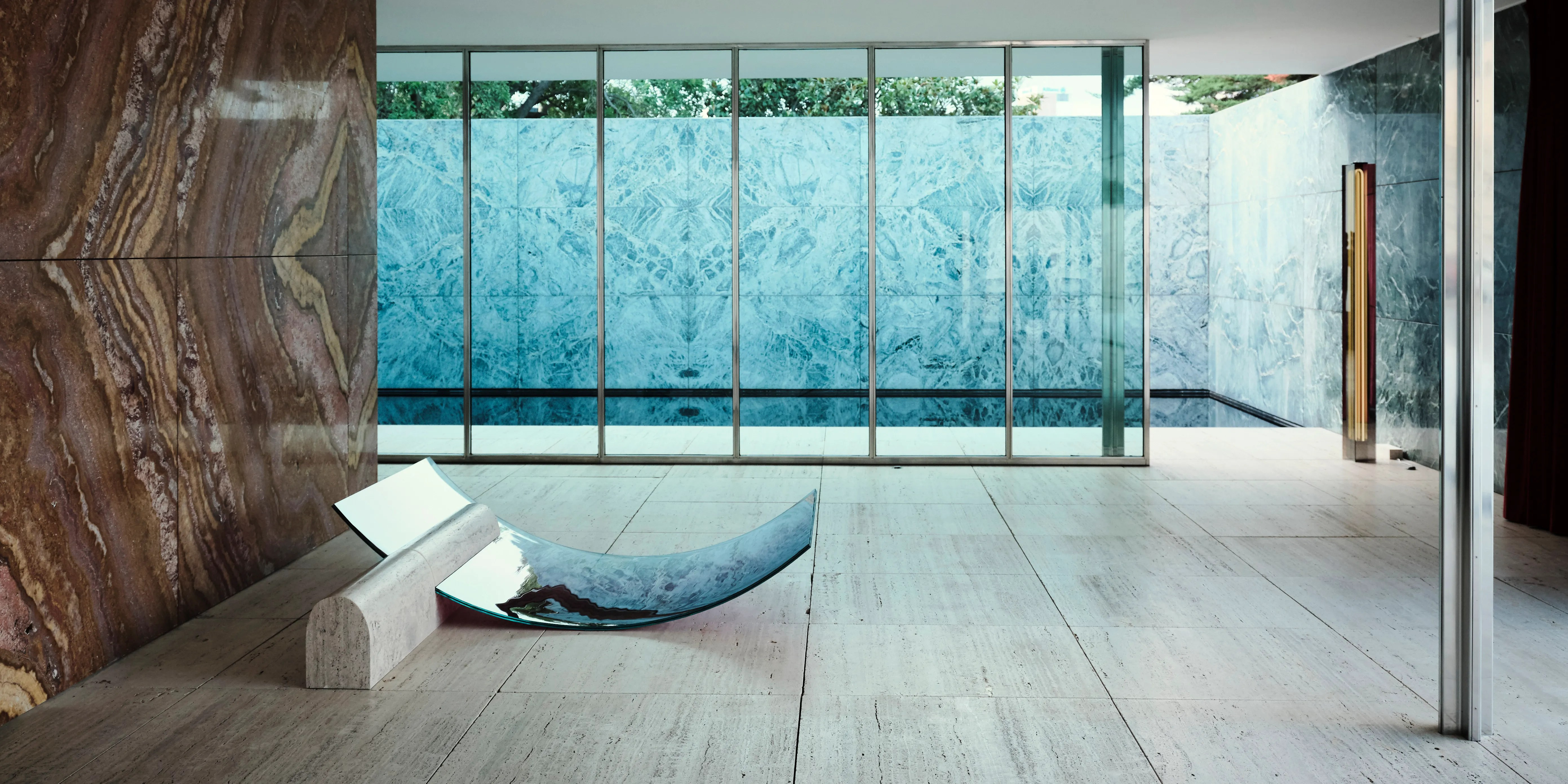 Mies Van Der Rohe S Barcelona Pavilion Gets Redecorated By Another Designer Architectural Digest