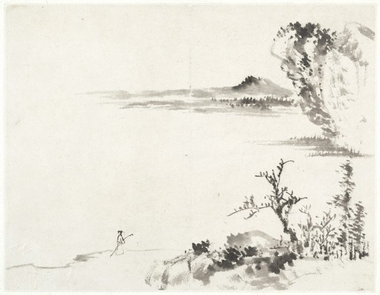 Landscape with figure carrying a staff), (17th century) by Cheng Sui