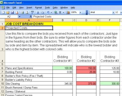 AsktheBuilder Bid Comparison Spreadsheet