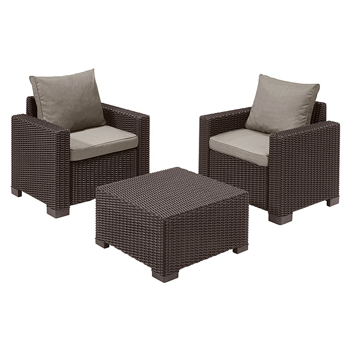 Allibert California Sessel Allibert Loungemöbel-set California (3-tlg., 2 Sessel, 1