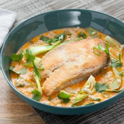Inspiring Coconut Curry Salmon Steaks Celery Bok Choy Over Barley Coconut Curry Salmon Steaks Celery Bok Choy Over Salmon Steak Recipes Grilled Salmon Steak Recipe Pan Seared