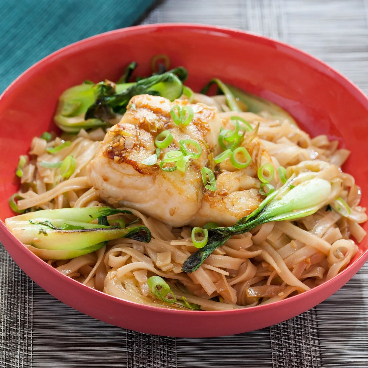 Baby Cod Pan Seared Cod With Soy Maple Glaze Baby Bok Choy And Rice Noodles