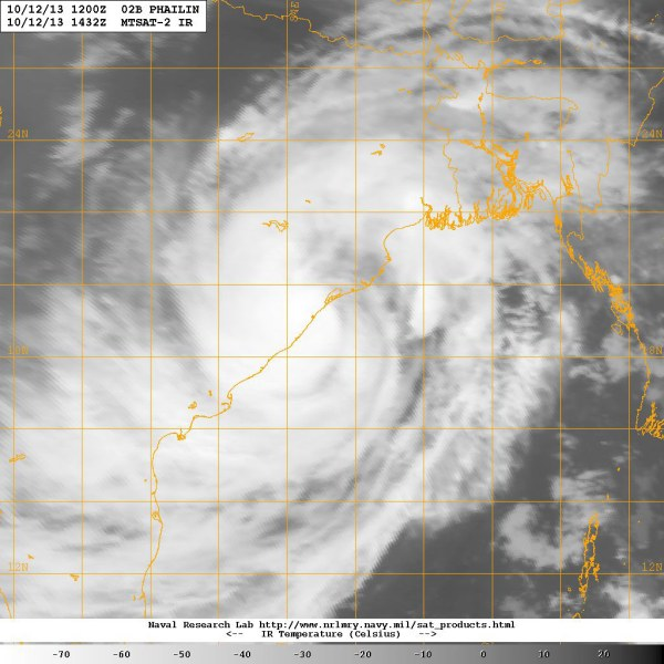 Phailin. Image captured Sat. Oct 12 17:42:37 2013 GMT.