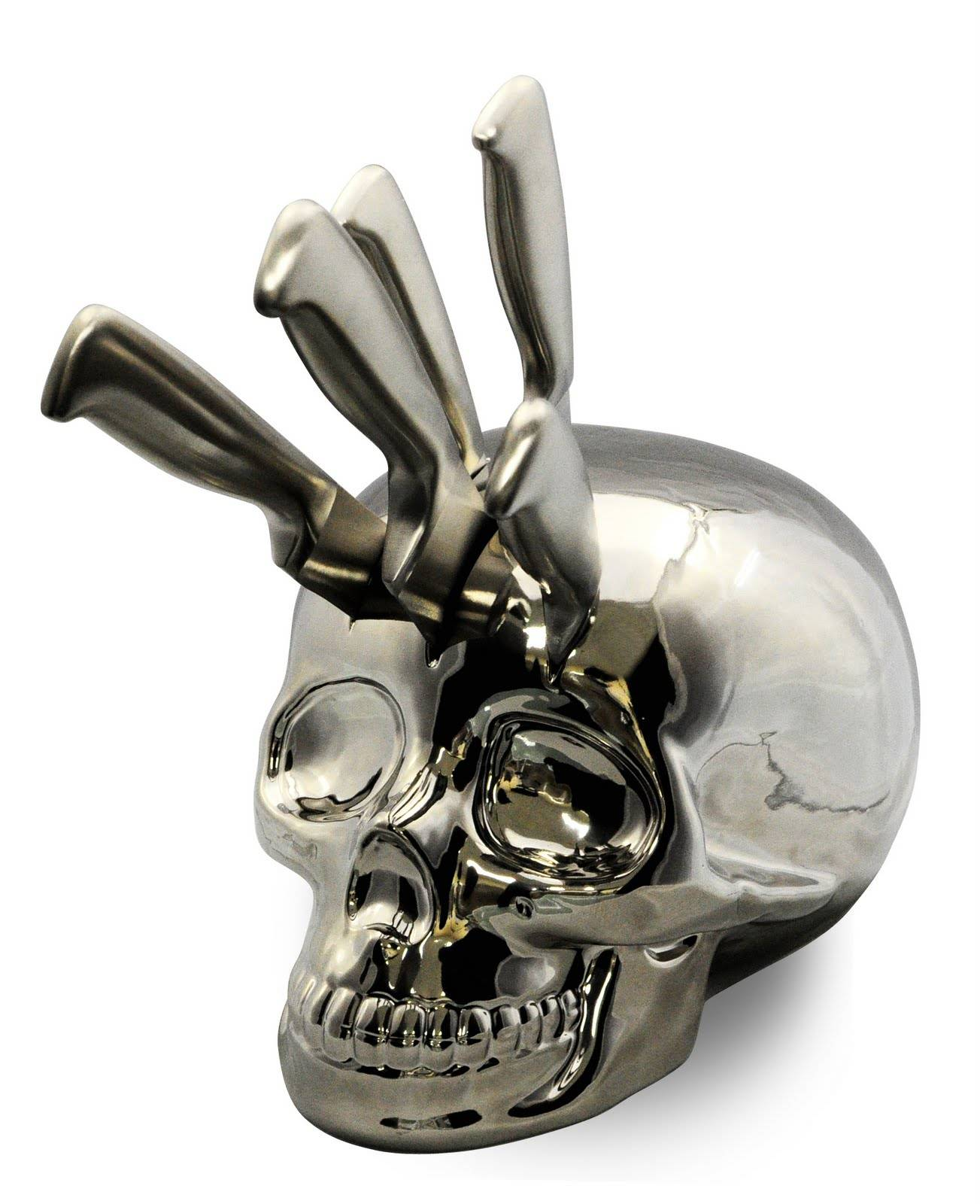 Cool Knife Block Sets Chrome Skull Knife Block Boing Boing