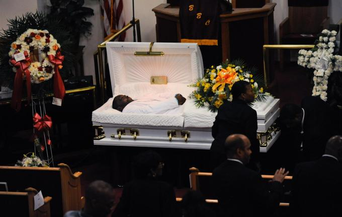 Mourners gather at the funeral service for Eric Garner at Bethel Baptist Church in Brooklyn New York, July 23, 2014. [Reuters]