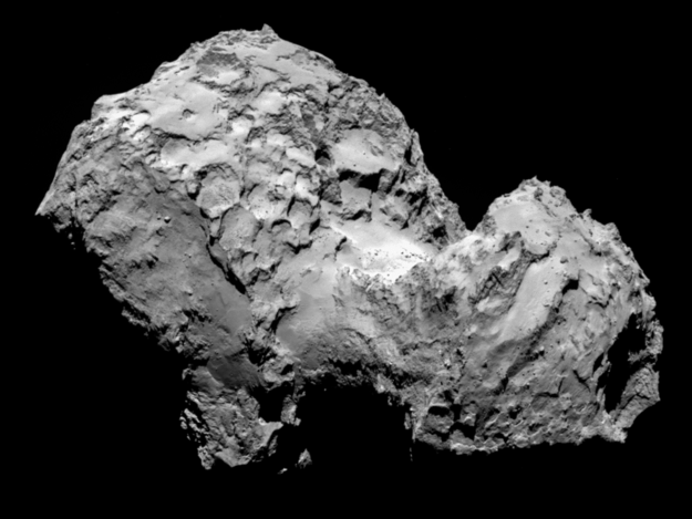 """Comet 67P/Churyumov–Gerasimenko and Rosetta now lie 405 million kilometres from Earth, about half way between the orbits of Jupiter and Mars, rushing towards the inner Solar System at nearly 55 000 kilometres per hour."""