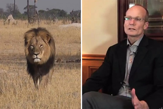 Cecil the lion and his alleged killer, Minnesota dentist Walter Palmer.