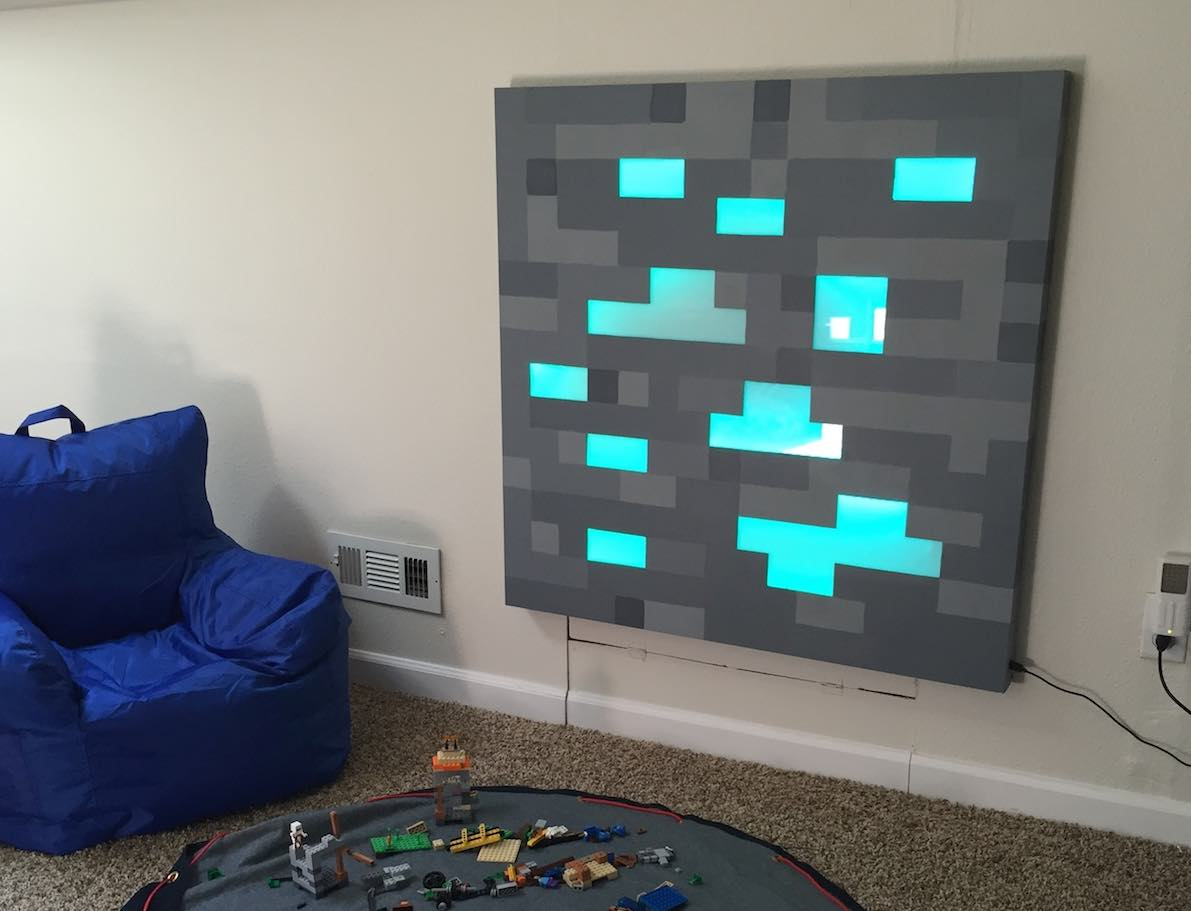Wooden Art Meuble Father Builds Glowing Life-sized Minecraft Block For Son's