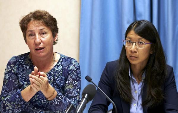 Francoise Saulnier, MSF  legal counsel, next to Joanne Liu, President of MSF International. [REUTERS]