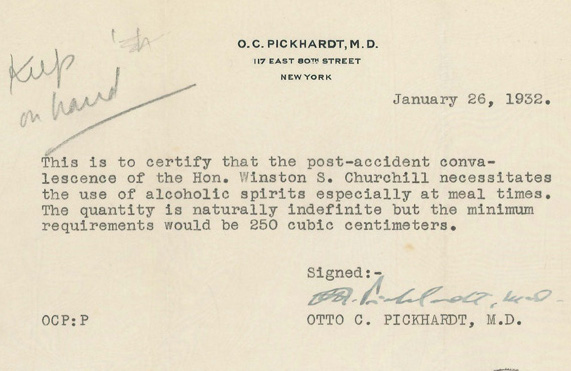 Churchill got a doctor\u0027s note requiring him to drink at least 8 - doctors note