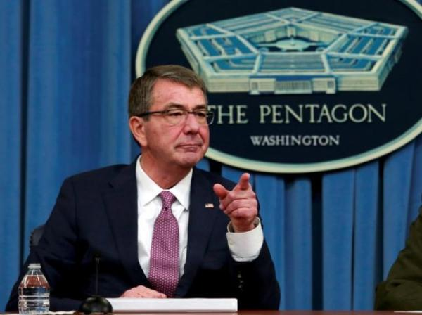U.S. Defense Secretary Ash Carter addresses reporters at the Pentagon. REUTERS
