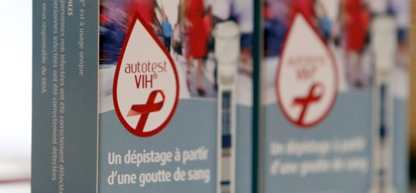 HIV self tests are displayed in a pharmacy in Bordeaux, France.  REUTERS