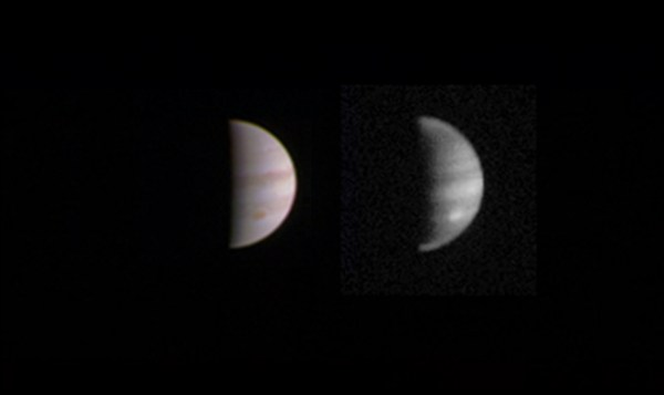 This dual view of Jupiter was taken on August 23, when NASA's Juno spacecraft was 2.8 million miles (4.4 million kilometers) from the gas giant planet on the inbound leg of its initial 53.5-day capture orbit. Image: NASA/JPL-Caltech/SwRI/MSSS