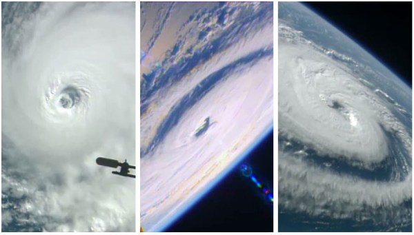 L-R: Hurricanes Lester, Madeline and Gaston seen from ISS Aug. 30. [NASA]