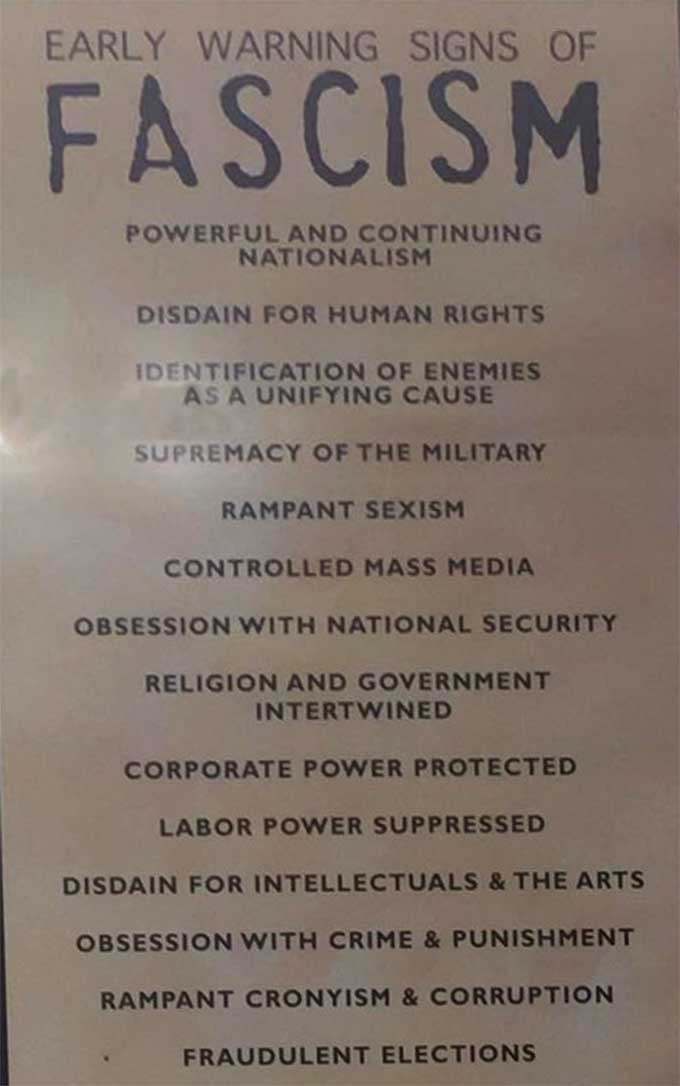 Handy checklist for people interested in implementing a fascist