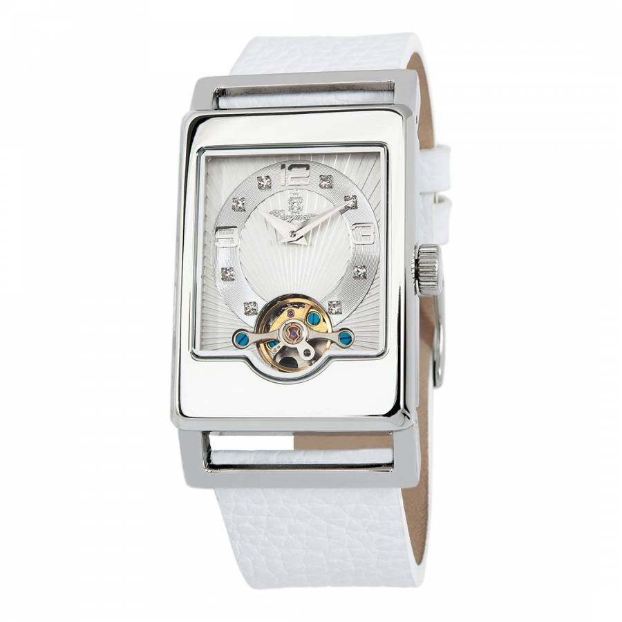 Delft Brand Ladies White Silver Leather Automatic Delft Watch Brandalley