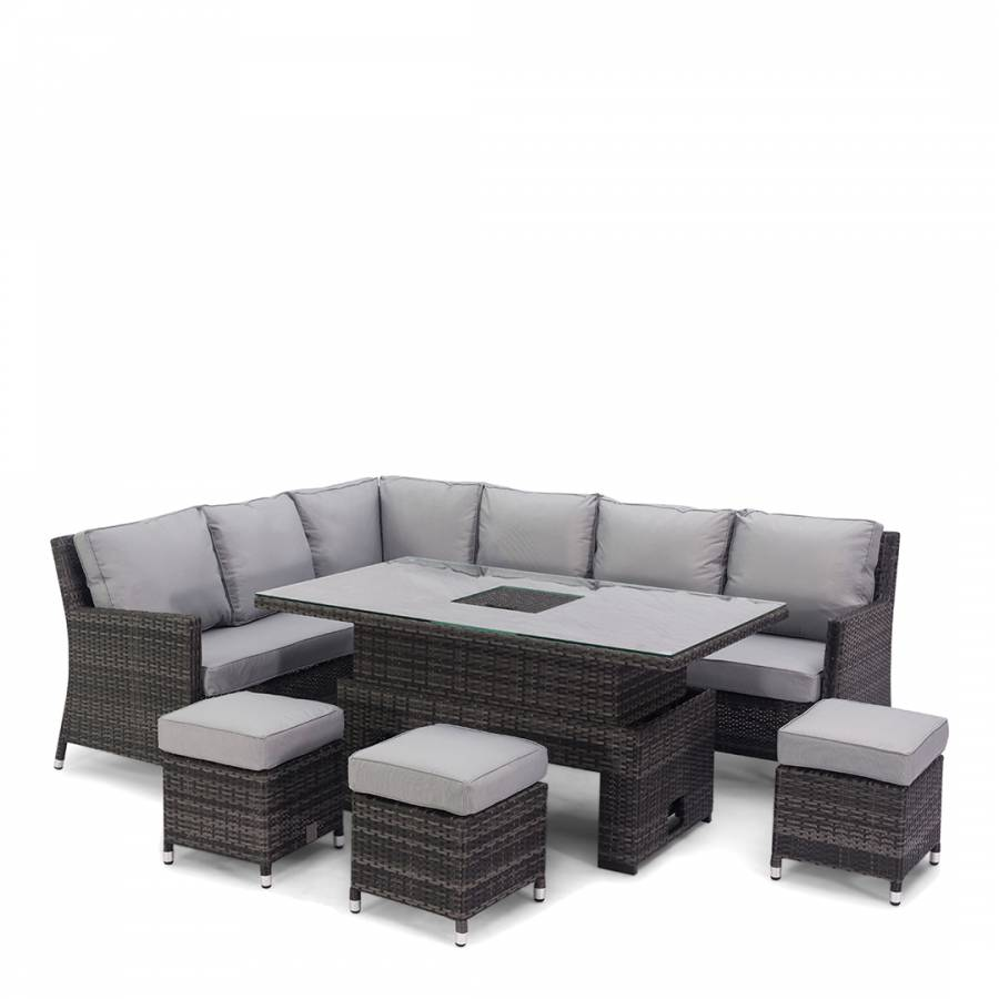 Bank Rattan Venice Corner Sofa Dining Set With Ice Bucket And Rising Table Grey