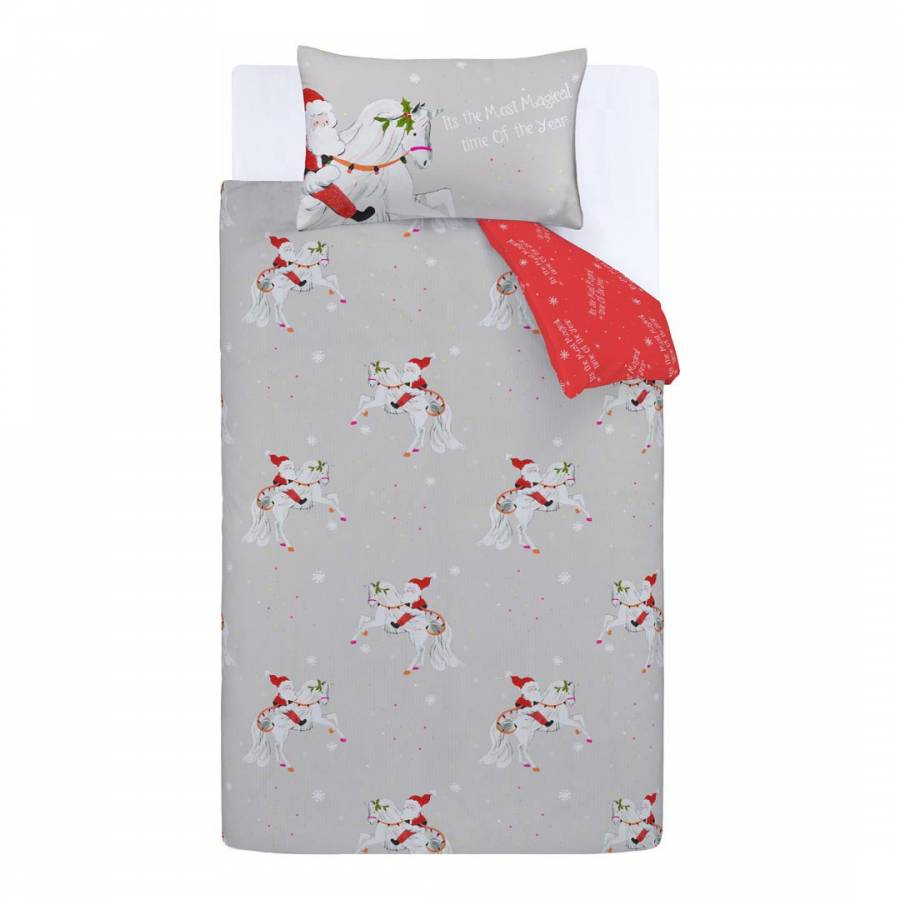 Catherine Lansfield Christmas Bedding Christmas Unicorn Single Duvet Cover Set Grey Brandalley