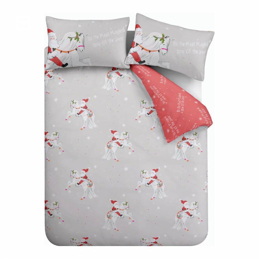 Catherine Lansfield Christmas Bedding Christmas Unicorn King Duvet Cover Set Grey Brandalley