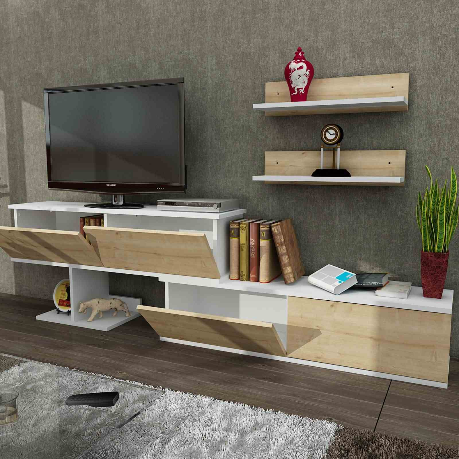 Muebles De Televisor Furny Home Mueble Para Televisor Natural Brandalley