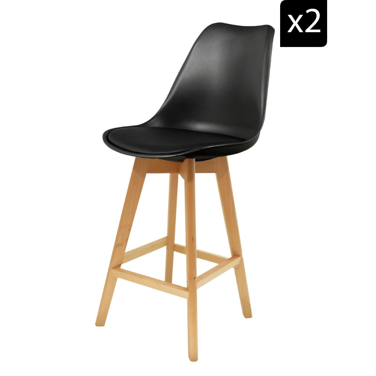 Chaises Scandinave Noir Home Deco Art Lot De 2 Chaises De Bar Scandinaves Noir