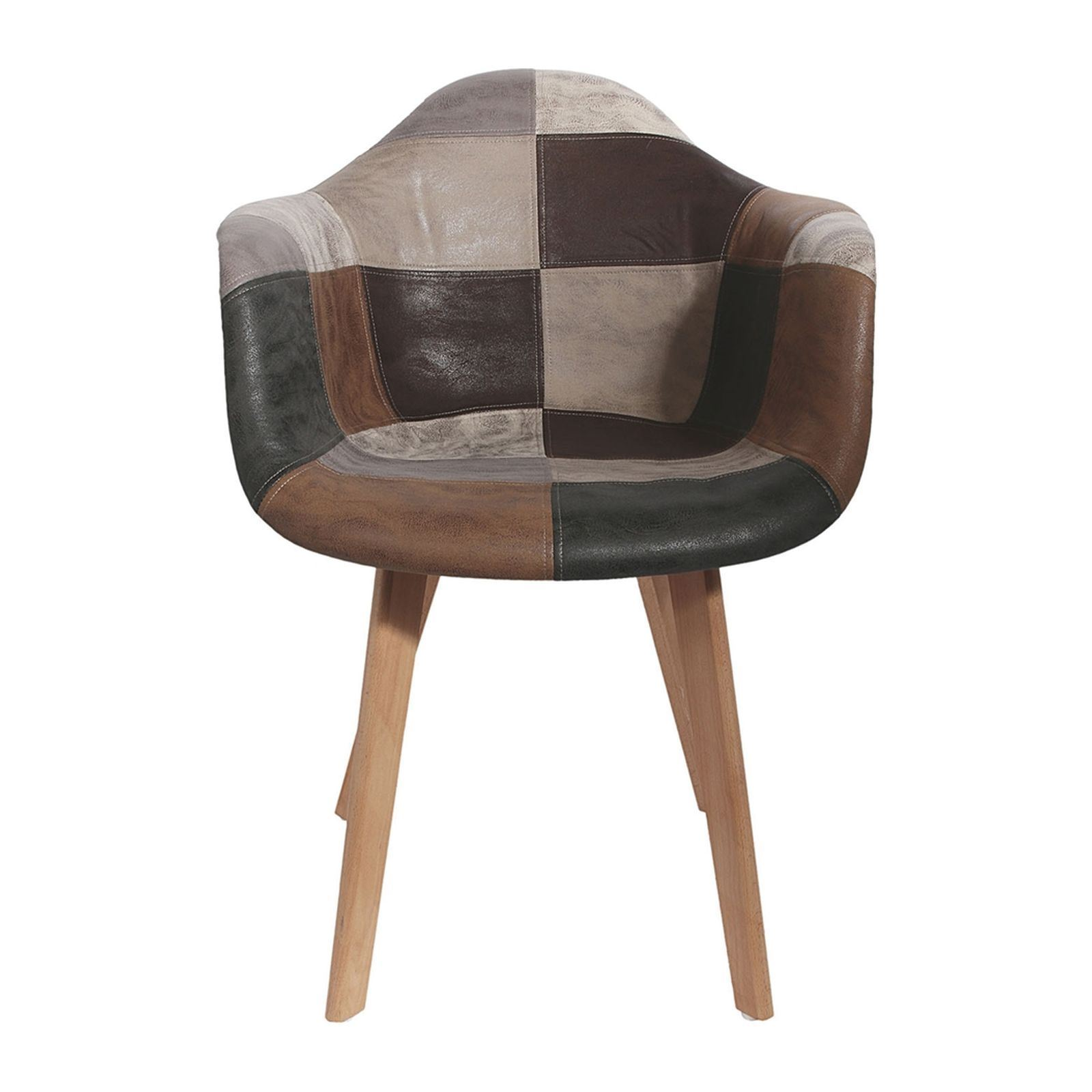 Lot De 2 Fauteuils Bois Home Deco Art Lot De 2 Fauteuils Patchwork Marron
