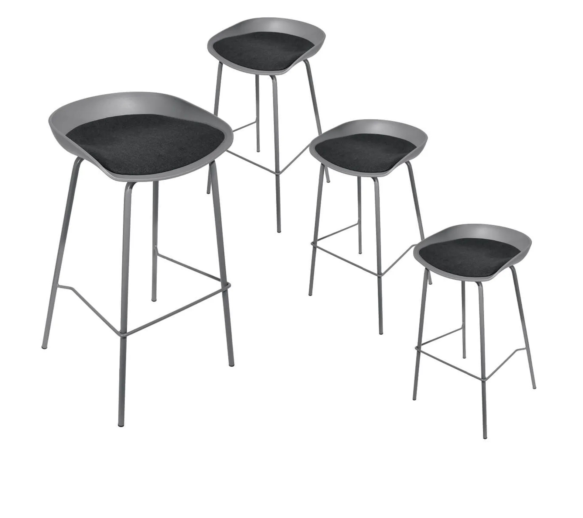 Lot De 4 Tabourets De Bar Métal Gris Hekla Tabouret But