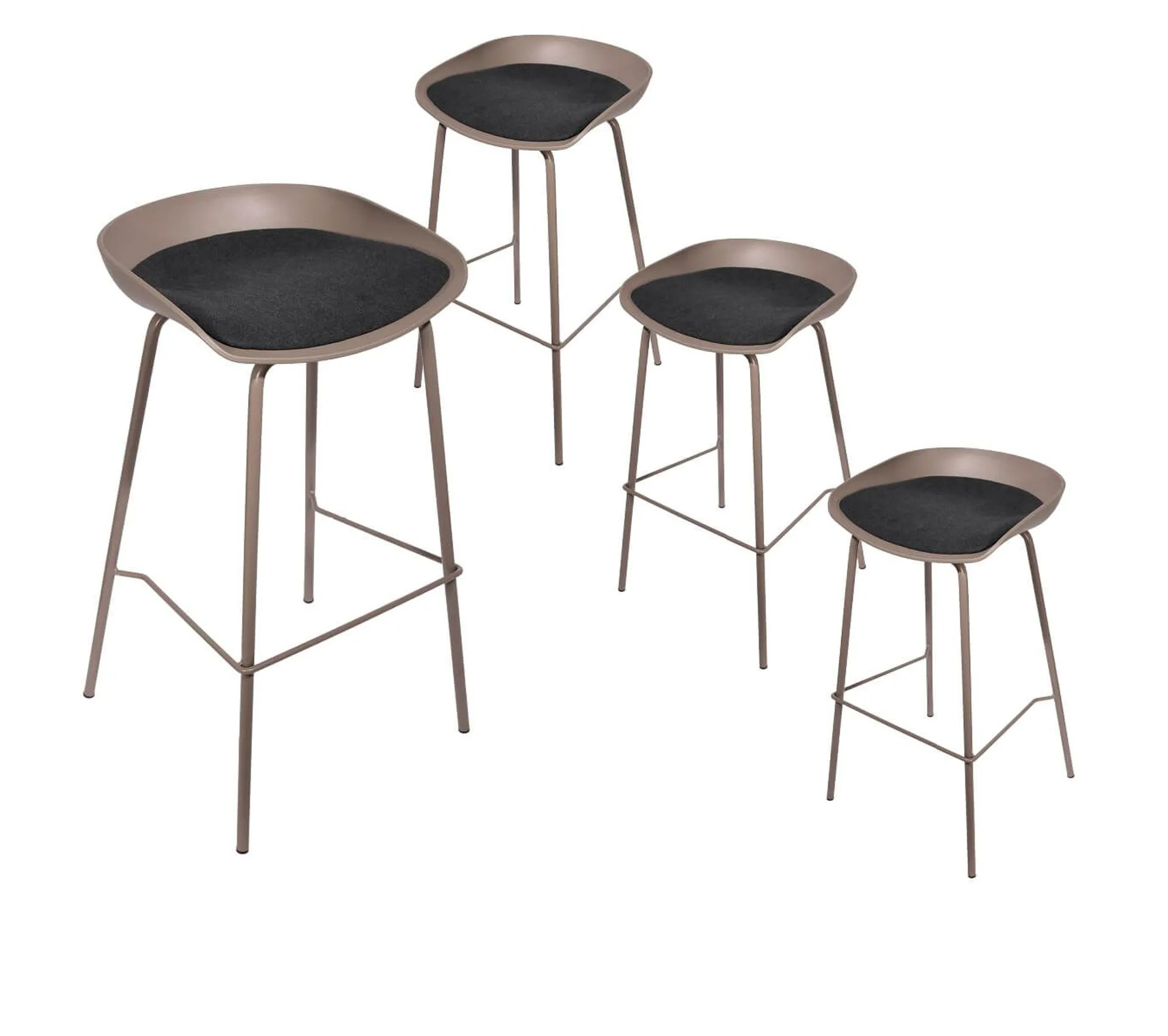 Lot De 4 Tabourets De Bar Métal Taupe Hekla Tabouret But