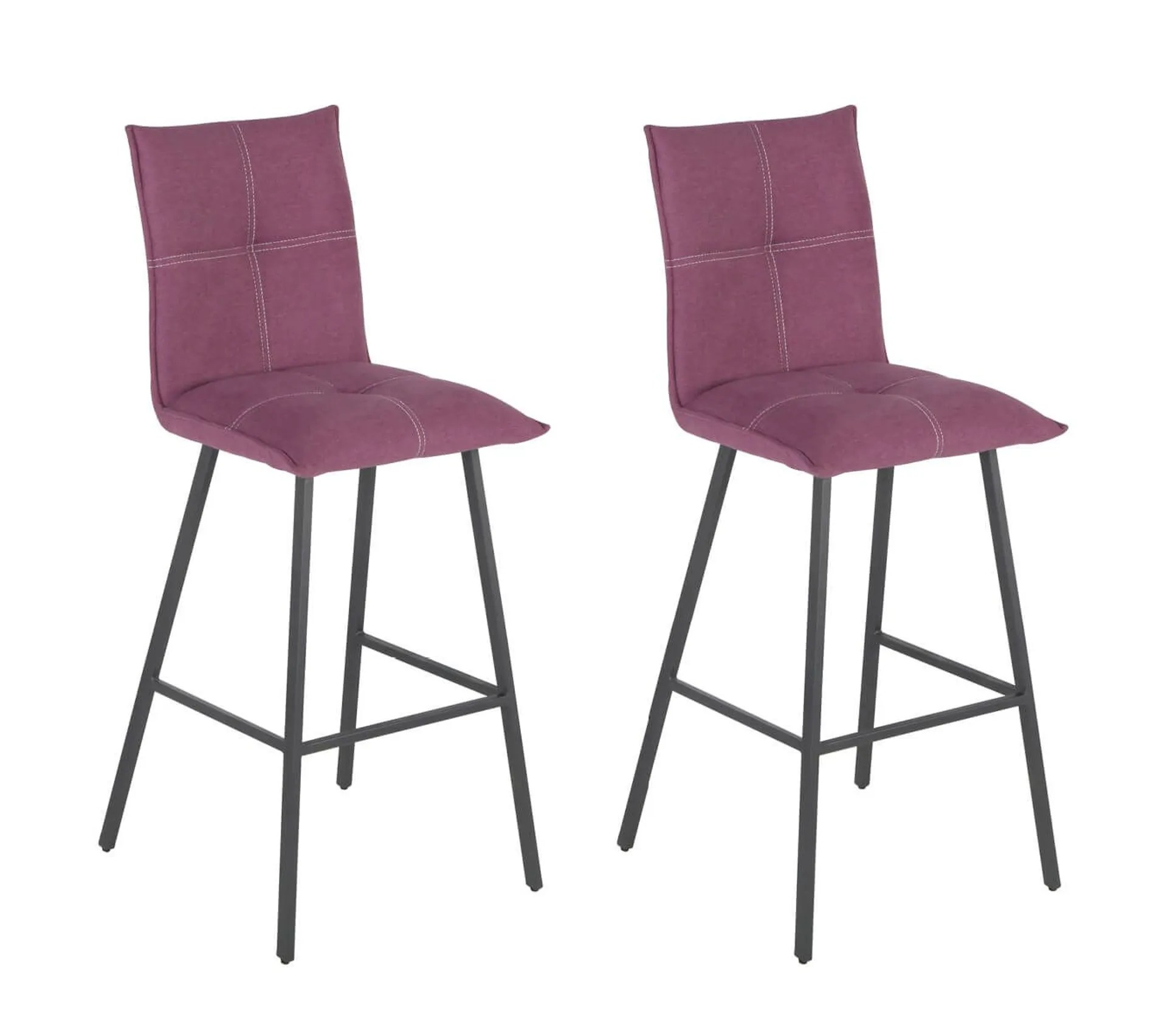 Lot De 2 Tabourets Violets Assise 65cm Lagos Tabouret But
