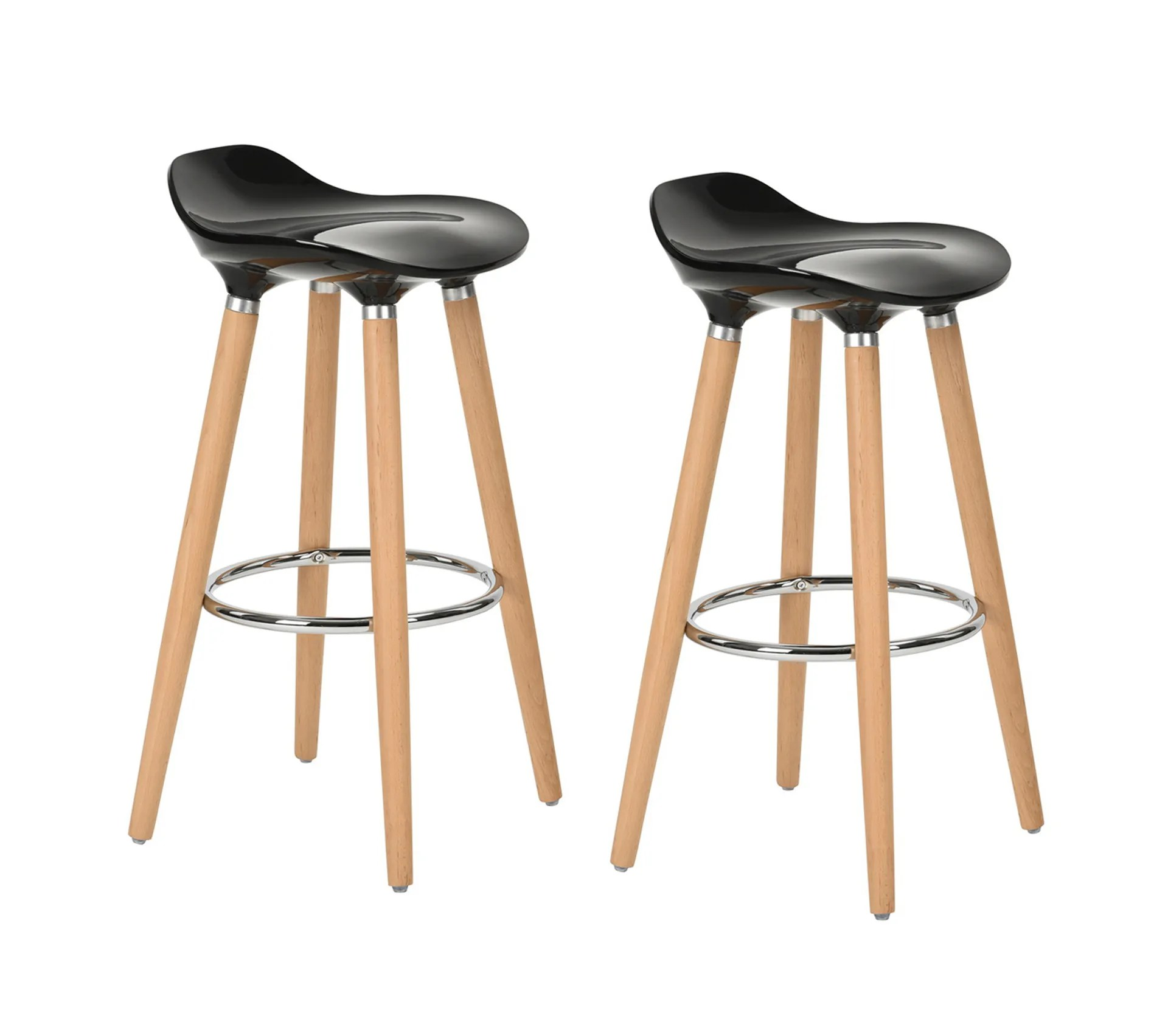Lot De 2 Tabourets De Bar Noir Abs Bois Tabouret But