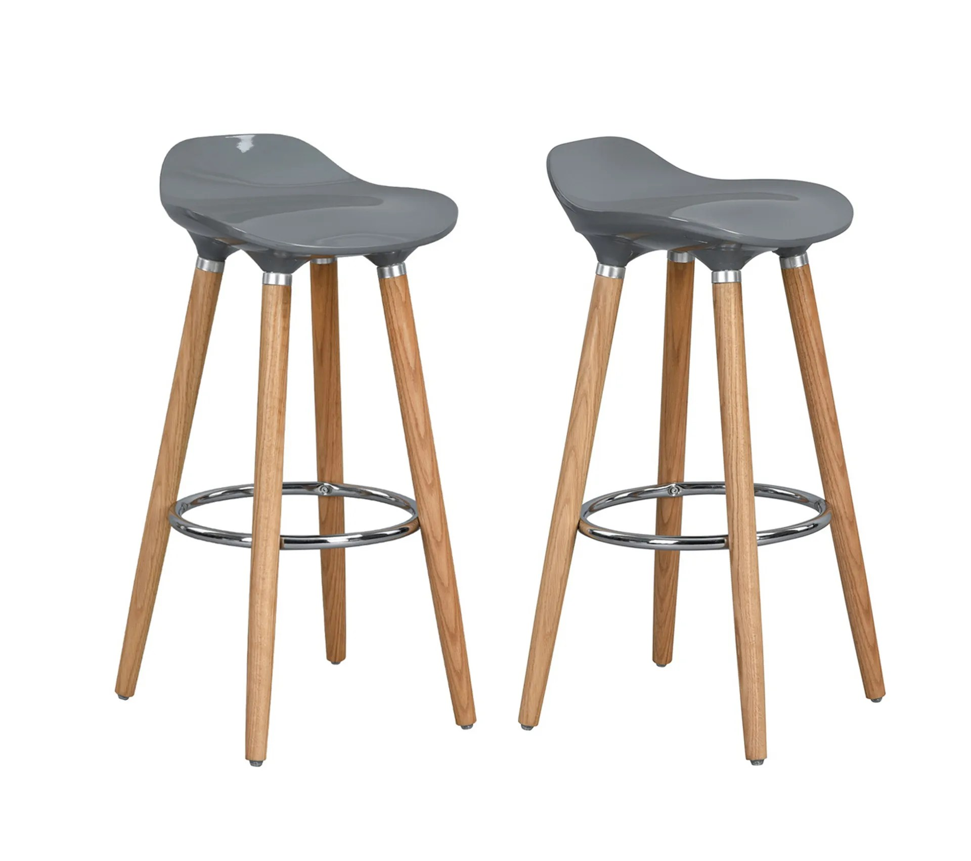 Lot De 2 Tabourets De Bar Gris Abs Bois Tabouret But