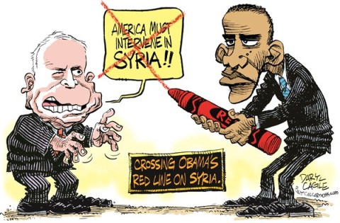 Daryl Cagle - CagleCartoons.com - Crossing the Red Line on Syria COLOR - English - John McCain,senate,President Barack Obama,Syria,red crayon,red line,chemical weapons,syria civil war