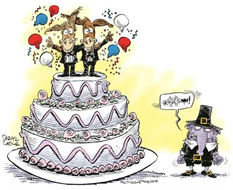 Daryl Cagle - CagleCartoons.com - DOMA and Gay Marriage SCOTUS Victory - English - Defense of Marriage Act, DOMA, SCOTUS, Supreme Court, Gay Marriage, elephant, donkey, democrats, wedding cake
