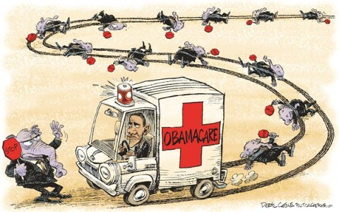 Daryl Cagle - CagleCartoons.com - STOP Obamacare COLOR - English - Barack Obama,ambulance,stop sign.traffic accident,run over,congress, Obamacare, republicans