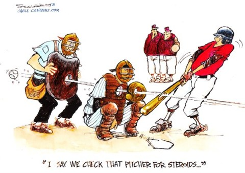 Bill Schorr - Cagle Cartoons - baseball and steroids - English - baseball, steroids, cheating