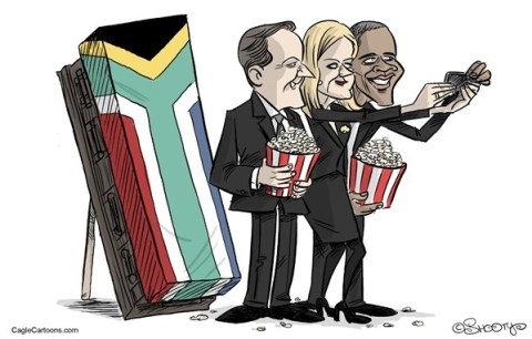 Martin Sutovec - Slovakia - Remembrance to the funeral - English - Barack Obama, Helle Thorning-Schmidt, David Cameron, Selfportrait, Selfie, Nelson Mandela Funeral